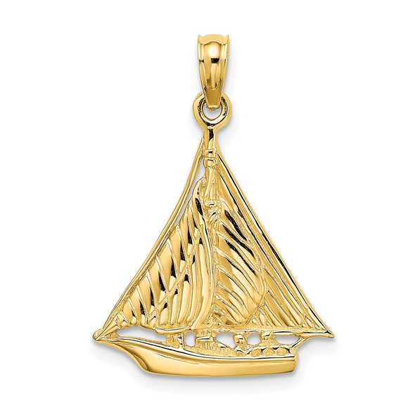 14k Yellow Gold Polished and Textured Sailboat Pendant