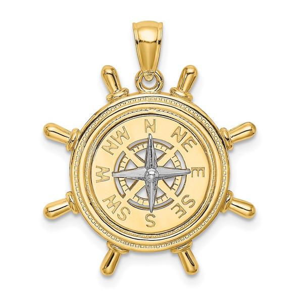 14k Yellow and White Gold Ship Wheel w/ Nautical Compass Pendant