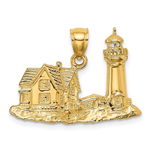 14k Yellow Gold 2-D Nubble Lighthouse Pendant