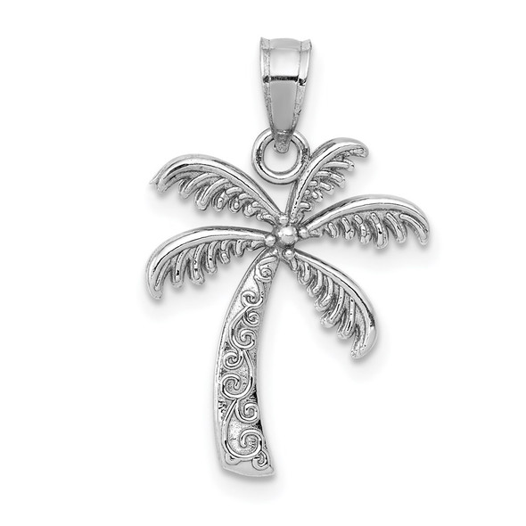 14K White Gold Polished Palm Tree Pendant