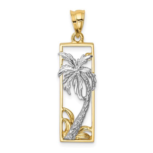 14k Two-Tone Gold Palm Tree Pendant