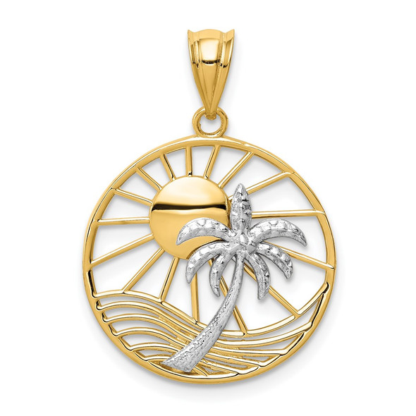14k Yellow and White Gold Cutout Sun and Palm Tree Pendant