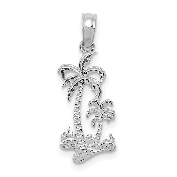 14K White Gold Double Palm Trees Pendant
