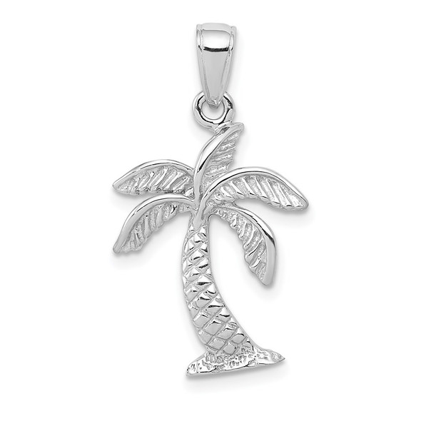 14k White Gold Palm Tree Pendant K2894W