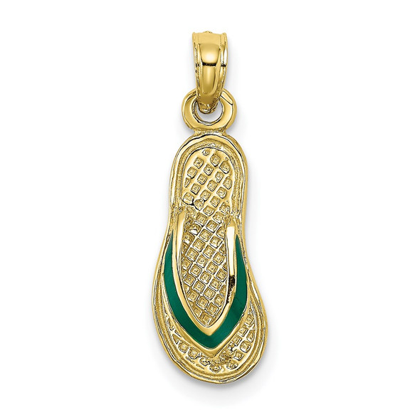 10k Yellow Gold w/Green Enamel Single Flip-Flop Pendant