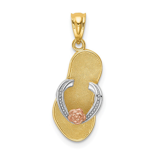 14k Yellow and Rose Gold w/Rhodium Sandal Pendant