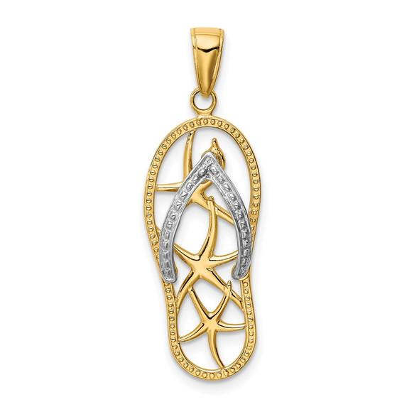 14k Yellow and White Gold Starfish Flip-Flop Sandal Pendant