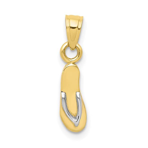 10k Yellow Gold w/Rhodium 3D Flip Flop Pendant 10C1011