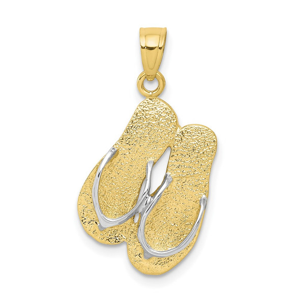 10k Yellow Gold With Rhodium-Plating Flip Flops Pendant