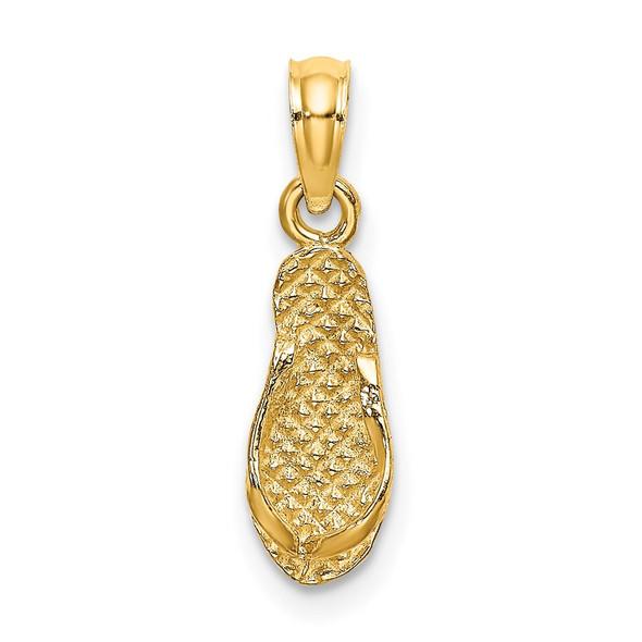 14k Yellow Gold 3-D Captiva Flip-Flop Pendant