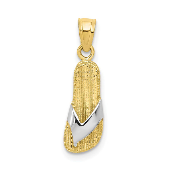 10k Yellow Gold with Rhodium-Plating Flip Flop Pendant 10C1012
