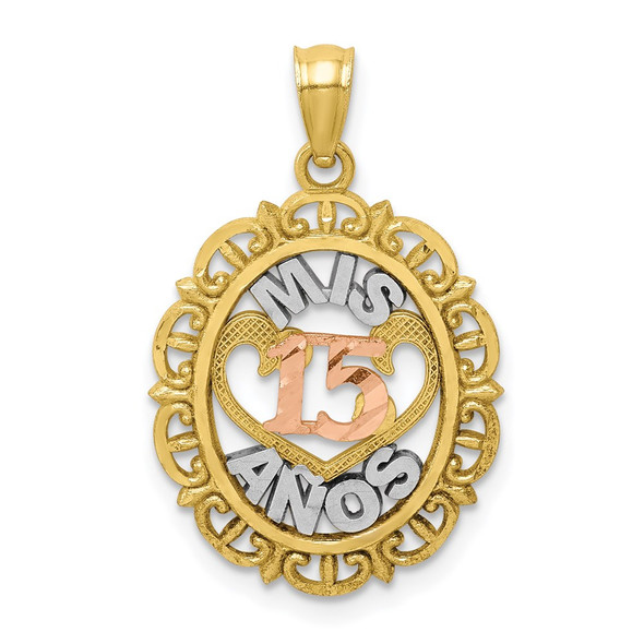 10k Yellow and Rose Gold with White Rhodium Mis 15 Anos Pendant