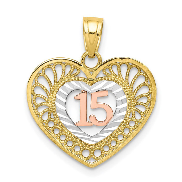 10k Yellow and Rose Gold with White Rhodium Sweet 15 Heart Pendant
