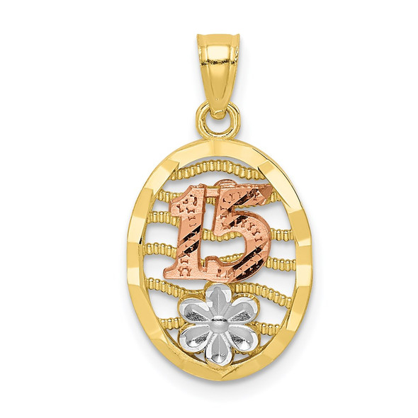 10k Yellow and Rose Gold with White Rhodium 15 w/Flower Pendant