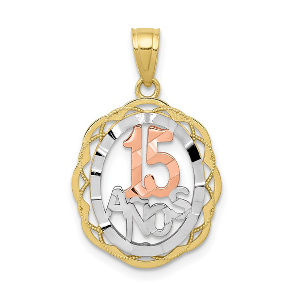 10k Yellow and Rose Gold with White Rhodium Sweet 15 Oval Pendant