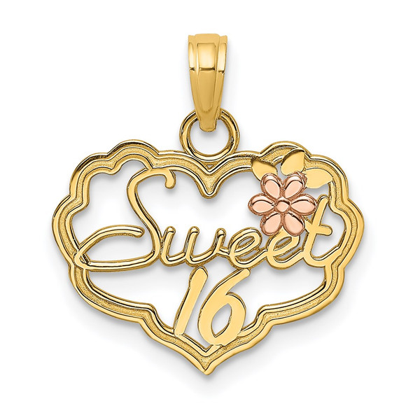 14k Two-tone Gold Sweet 16 Heart w/Flower Pendant