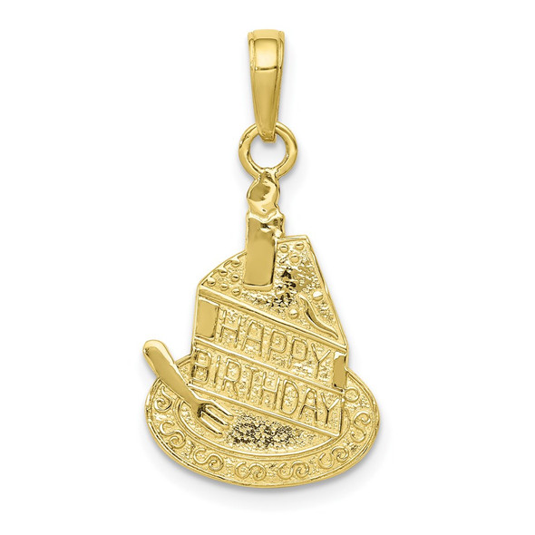 10k Yellow Gold Slice Of Cake With Candle Happy Birthday Pendant