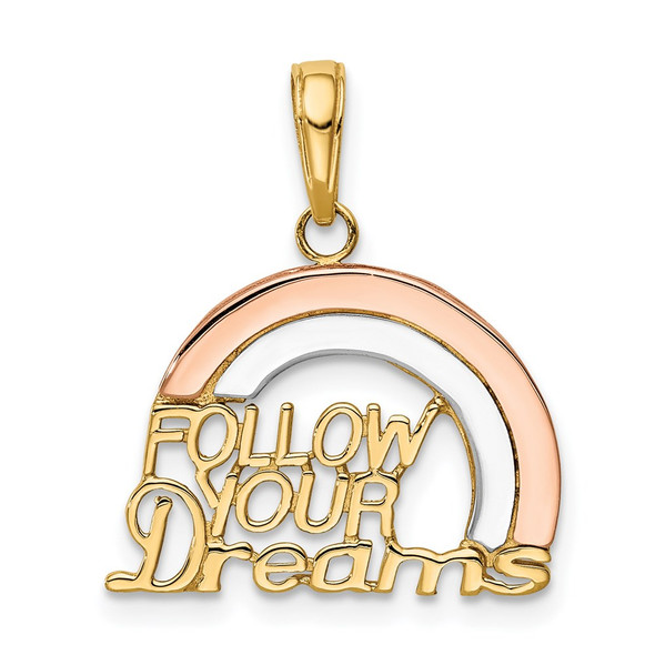 14k Yellow and Rose Gold with Rhodium Follow Your Dreams Rainbow Pendant