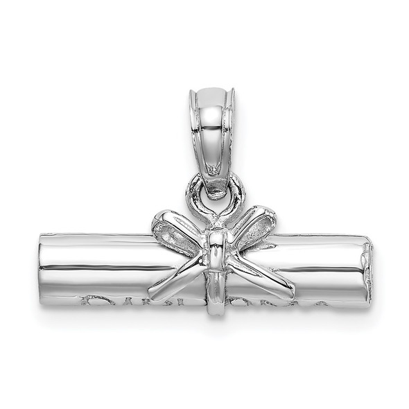 14k White Gold 3-D Diploma Rolled Up Pendant