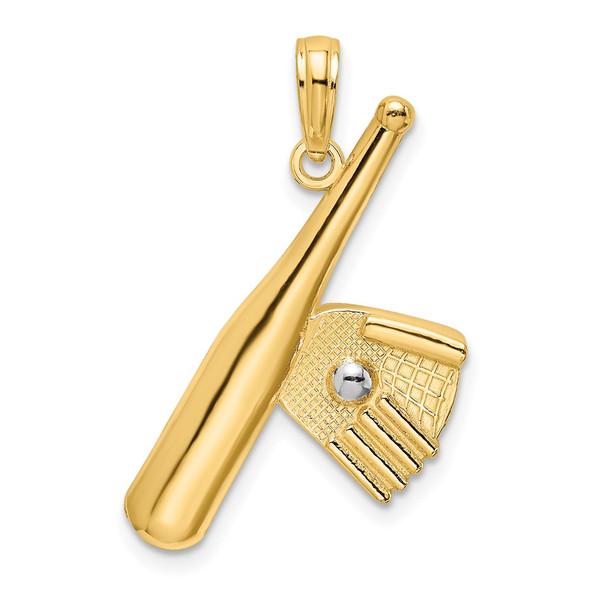 14k Yellow Gold And Rhodium Baseball Bat With Ball Pendant