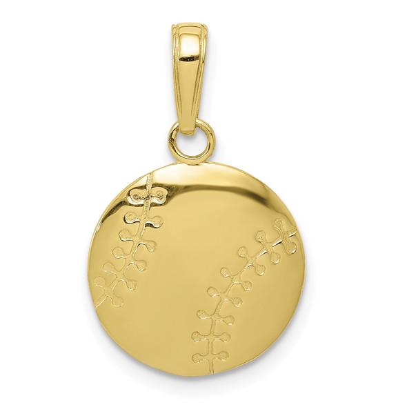10k Yellow Gold Polished Baseball Closed Back Pendant