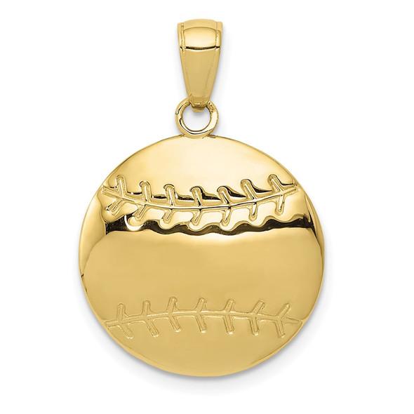 10k Yellow Gold Diamond-Cut Baseball Pendant