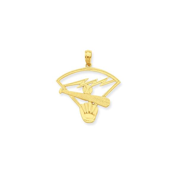 14k Yellow Gold Baseball Diamond Pendant