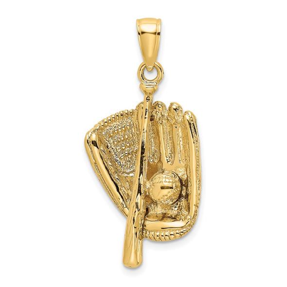 14k Yellow Gold 3-D Baseball Glove, Bat and Ball Pendant K8744