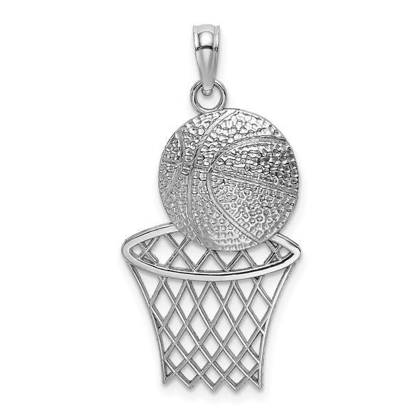 14k White Gold Diamond-cut Basketball and Net Pendant