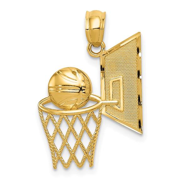 14k Yellow Gold Basketball Pendant C3583