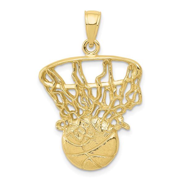 10k Yellow Gold Swoosh Basketball & Net Pendant 10C3781
