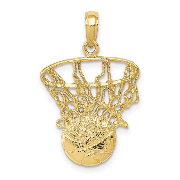 10k Yellow Gold Swoosh Basketball & Net Pendant 10C3780