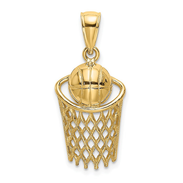 14k Yellow Gold Polished Basketball and Net Pendant