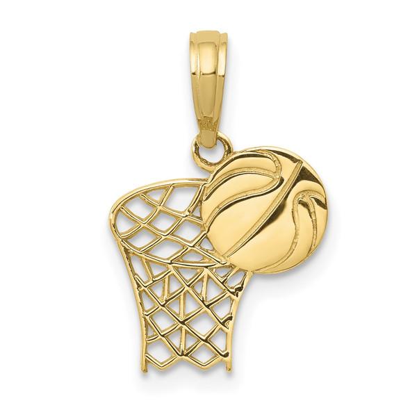 10k Yellow Gold Basketball Hoop And Ball Pendant