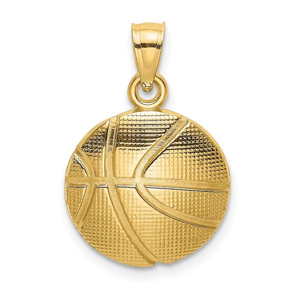14k Yellow Gold 2-D Textured Basketball Pendant