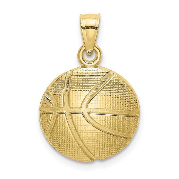 10k Yellow Gold 2-D Textured Basketball Pendant