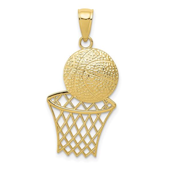 10k Yellow Gold Basketball and Net Pendant