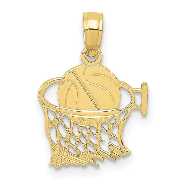 10k Yellow Gold Basketball In Net Pendant