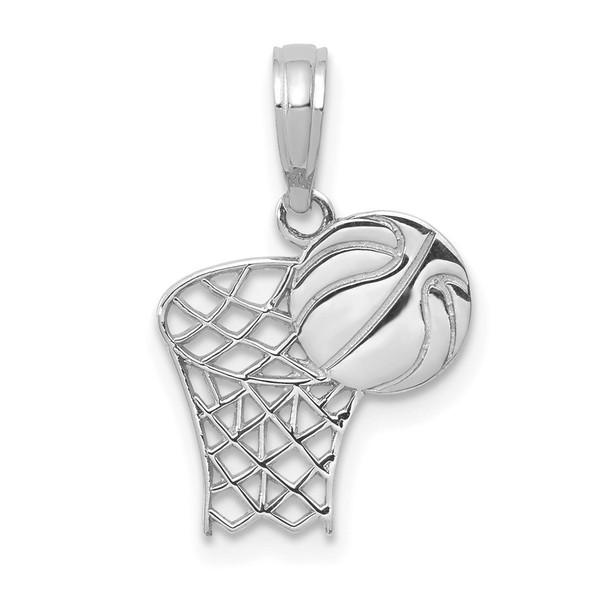 14K White Gold Basketball Hoop And Ball Pendant
