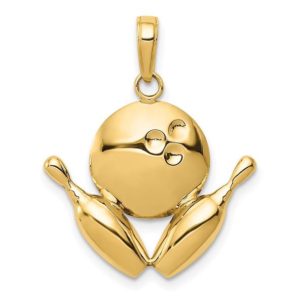 14k Yellow Gold Diamond-Cut Bowling Theme Pendant