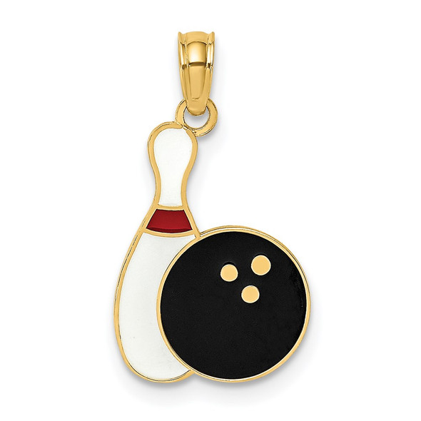 14k Yellow Gold Enamel Bowling Ball and Pin Pendant