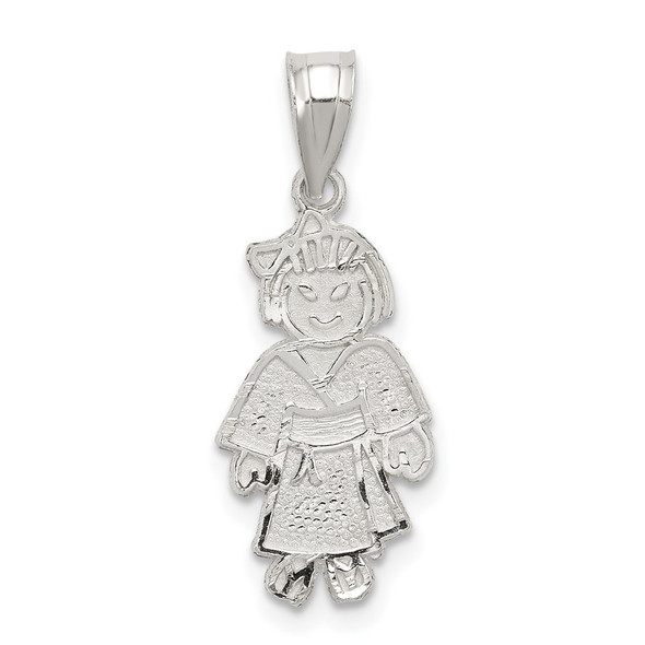 Sterling Silver Girl Martial Arts Pendant