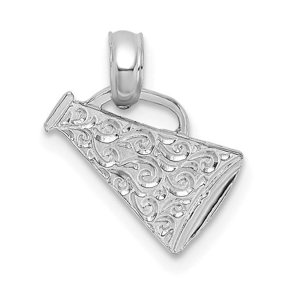 14K White Gold Megaphone with Handle Pendant