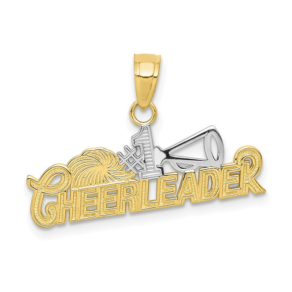 10k Yellow Gold With Rhodium-Plating #1 Cheerleader Pendant