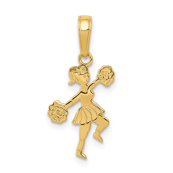 14k Yellow Gold Cheerleader w/Pom-Poms Pendant