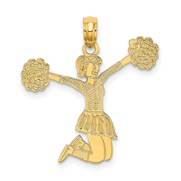 14k Yellow Gold Cheerleader Jumping with Pom-Poms Pendant C3555