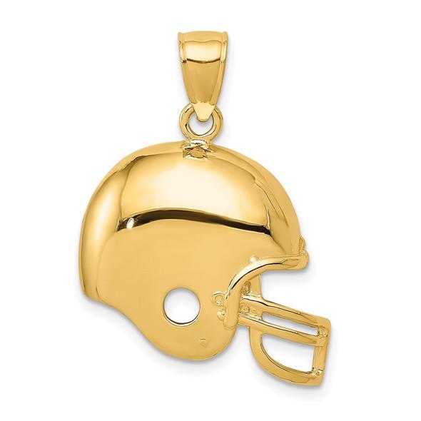 14k Yellow Gold Football Helmet Pendant K3602