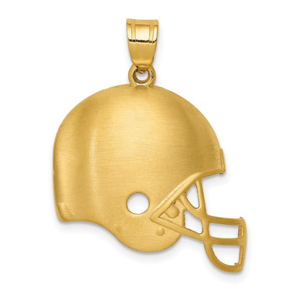 14k Yellow Gold Brushed Football Helmet Pendant