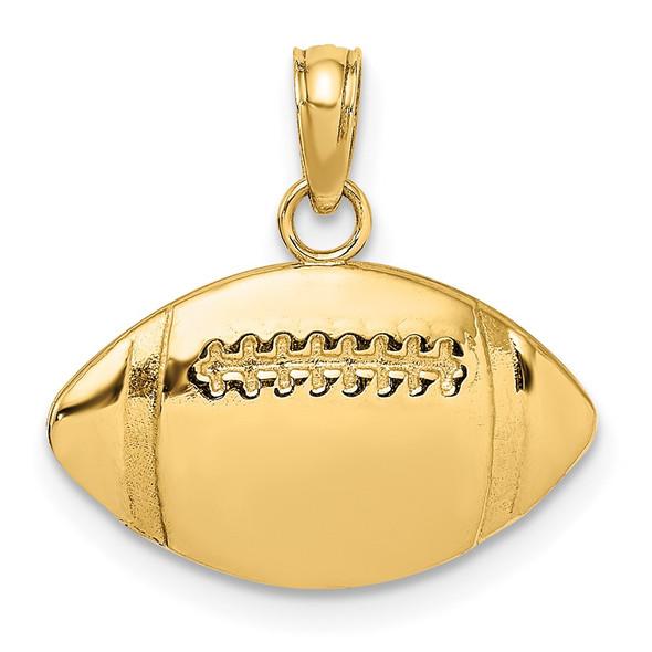 14k Yellow Gold 2-D Engravable Football Pendant