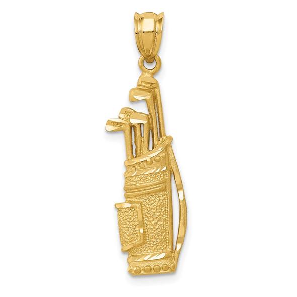 14k Yellow Gold Golf Bag Pendant C718